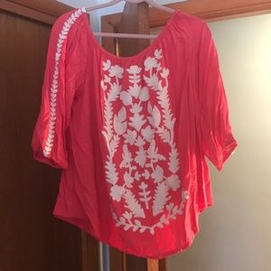Tops - Off the shoulder coral top